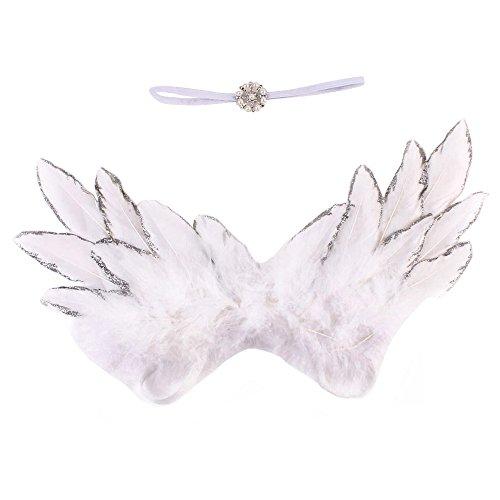 hen Jungen Engelsflügel Weiße Flügel Kostüm-Party +Headwrap Süße Foto Kostüm Fotografie Prop Geburtstag Fotoshooting Geschenk (Weiß) ()