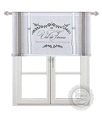 Scheibengardine Raff Gardine Raffrollo Vorhang 'PROVENCE' 140 x 90 cm (BxH) weiß beige rosa mit Aufdruck Baumwolle Landhaus Shabby French Vintage Retro Antik Nostalgie