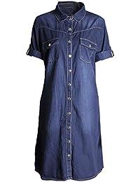8115aed16668 OHQ Robe à Manches Courtes en Jean pour Femme Bleu Clair Femmes Denim Loose  Large Boutons