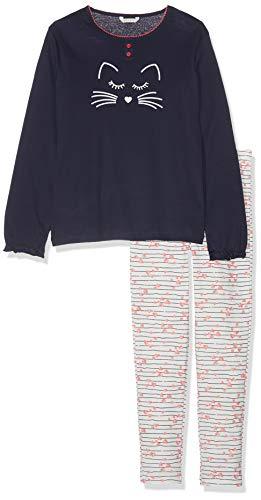 ESPRIT Mädchen Zweiteiliger Schlafanzug Becky MG Pyjama 039EF7Y001, Gestreift, Gr. 116 (Herstellergröße: 116/122), Blau (Navy 400)