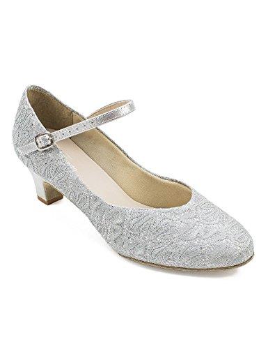 So Danca BL 116 Scarpe da ballo da Donna Latino Salsa Rumba Tango tacco 3,8 cm argento lucido Argento