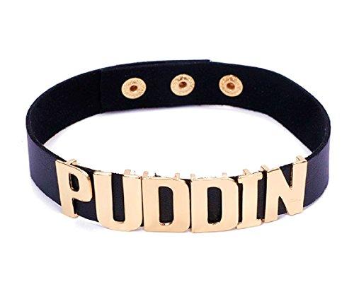 Kragen schwarz mit geschriebenen Puddin Harley Quinn für Kinder Karneval Halloween Cosplay Suicide Squad Film Idee Geschenk kleine Mädchen