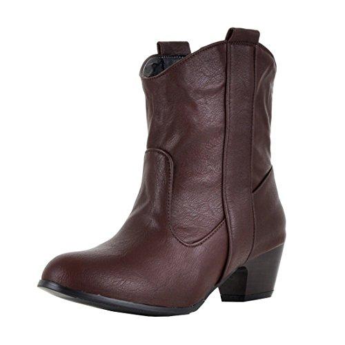 YE Damen Western Stiefeletten Blockabsatz Retro Chunky Heel Ankle Cowboy Boots 5cm Absatz...