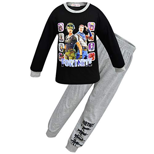 Dgfstm - Pijama Dos Piezas - para niño Negro (140 cm