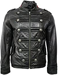 BATTALION Men's BLACK RED Neck 2212 Military Style Steam Punk Real Leather Jacket Coat