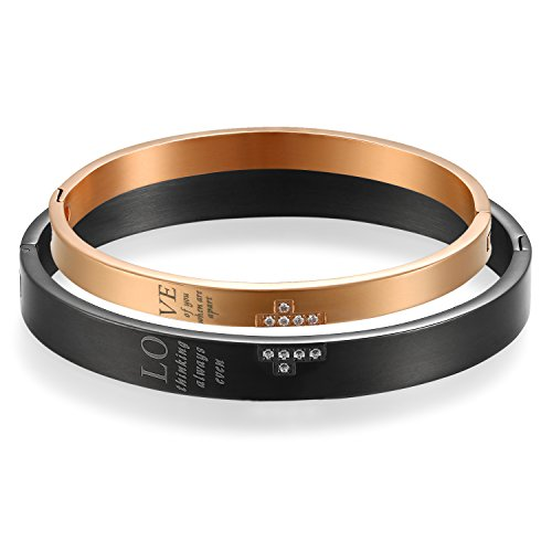 Jewelrywe 2pcs bracciale da uomo donna amore amanti braccialetto coppia per lui & lei love, acciaio inossidabile san valentino regali coppia, croce oro nero regalo di natale