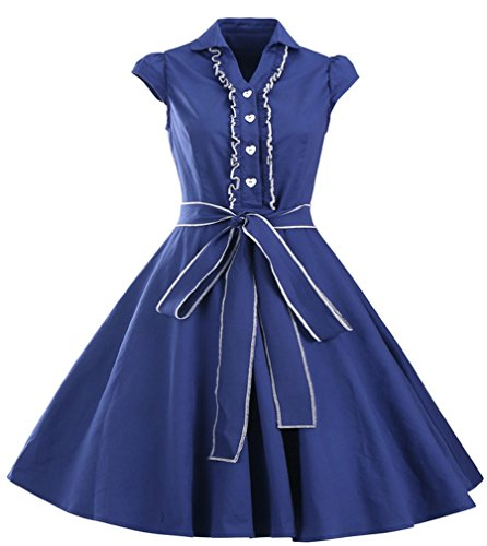 Eyekepper Robe coctail Robe courte Femme / demoiselle - robes style annee 50 - elegante vintage dance party Bleu