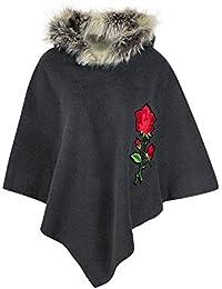 FLIRTY WARDROBE Womens Floral Faux Suede Poncho Top Ladies Hooded Fur Jumper Xmas Party Clubwear