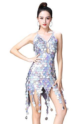 Feoya Lateinisches Tanzkleid Damen Quaste Pailletten Kleid Ärmellos Party Mini Cocktail für Latin Cha Cha Rumba Samba Tango-Silber