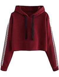 Saingace Hoodie for Women, Womens Striped Full Sleeve Hoodie Sweatshirt Hooded Crop Top Pullover Tops Blouse