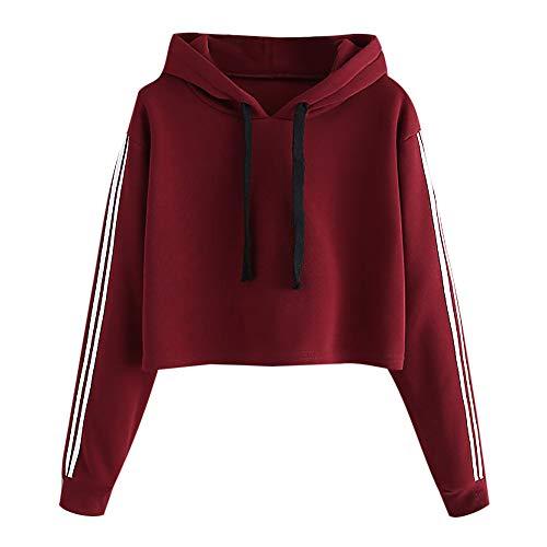 TWIFER Damen Hoodie Gestreiftes Langarmshirt Pullover mit Kapuze Sweatshirt