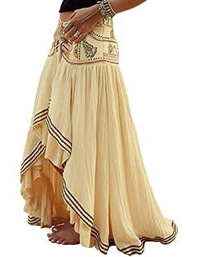 La Mujer Bohemia Irregular Floral Lace Up Anudado Swing Alto - Bajo La Falda