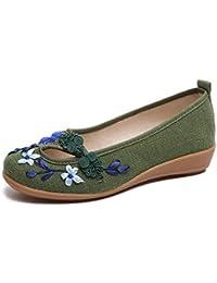 HUAN Zapatos de Mujer Zapatos Bordados Hechos a Mano Verano Nuevo Algodón Cáñamo Zapatos de Boca Poco Lino Oxford...