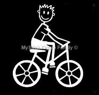 My Stick Figure Family Familie Autoaufkleber Aufkleber Sticker Decal Junge Radsport, Fahrrad B11