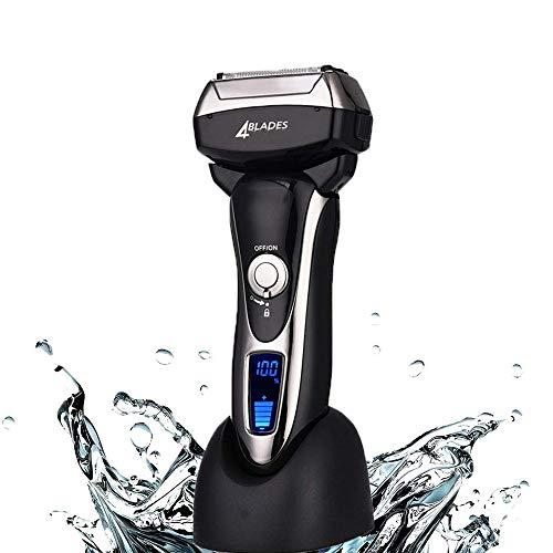 ZJJGRASS IPX6 Wasserdicht Herren-4-Blatt Schnurloses Elektrorasierer Quick Charge Wiederaufladbare Trimmer Nass- oder Trockenbetrieb ShaversLCD Bildschirm Reisetasche