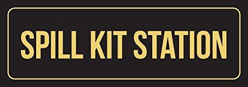 Spill-station Kit (76DinahJordan blau & Gold Spill Kit Station Business Retail Schild Indoor Outdoor Metall Schilder Blechschild Warnschild Türschild für Zuhause für Büro 10 x 45 cm)
