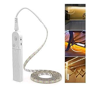 LED Stripes 3m(10 Fuß) Bewegungssensor Licht, PDGROW LED Leiste Lichtleiste Batteriebetrieben 5V USB Wasserdicht LED Licht Streifen Beleuchtung mit selbstklebend für Küche, Schrank, Regal