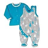 Koala Baby Strampler 2er-Set für Jungen mit Shirt im Wald-Tier-Motiv | Baby-Kleidung für Neugeborene & Kleinkinder | Grau - blau | Größe: Newborn (56)