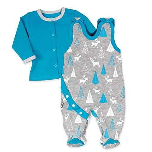 Koala Baby Strampler 2er-Set für Jungen mit Shirt im Wald-Tier-Motiv | Baby-Kleidung für Neugeborene & Kleinkinder | Grau - blau | Größe: 3-6 Monate (68) - 5 Größe Jungen Kleidung