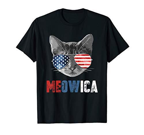 Meowica Lustige Katze Mit Amerikanischer Flagge T-Shirt