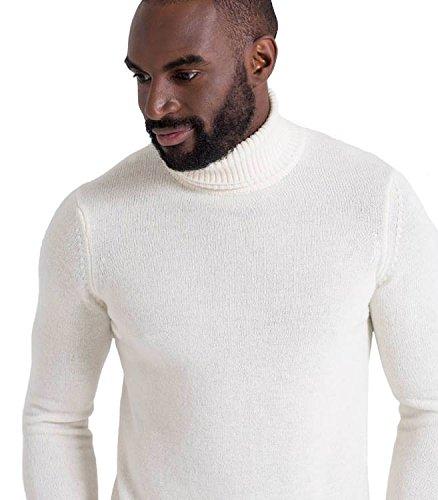 Wool Overs Pull col roulé homme en laine d'agneau Cream (Winter White)