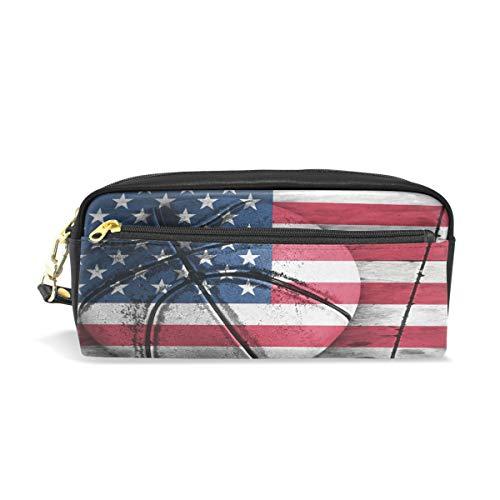 Bigjoke Federtasche mit Amerika-Flagge, Basketballstift, PU-Leder, Tasche für Make-up, Kosmetik, Reisen, ()