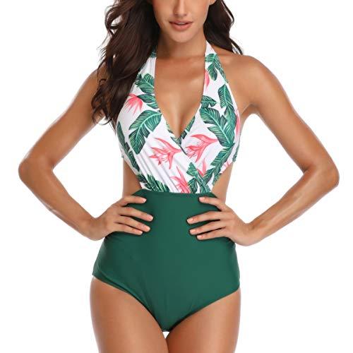 Einteiliger Bademode Bikini Badeanzug Damen Neckholder V-Ausschnitt Rückenfrei Einteiliger Bademode-XXL-1Grün Floral -
