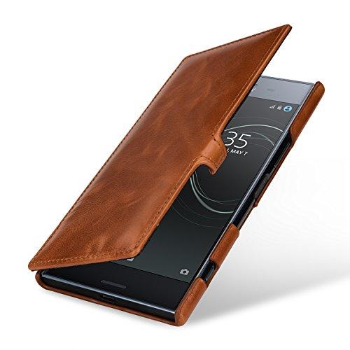 StilGut Book Type Case, Hülle Leder-Tasche für Sony Xperia XZ Premium. Seitlich klappbares Flip-Case aus Echtleder mit Smart-Cover-Funktion, Cognac mit Clip