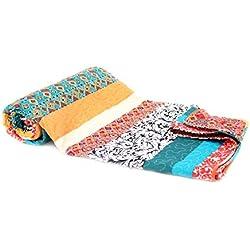 Tagesdecke Zoe Streifen Boho Shabby chic Vintage Plaid Quilt Decke (230 x 250cm)