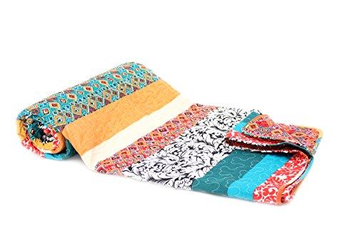 Tagesdecke Zoe Streifen Boho Shabby chic Vintage Plaid Quilt Decke (150 x...