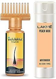 Indulekha Bhringa Hair Oil, 100ml & Lakmé Peach Milk Moisturizer Body Lotion 200 ml