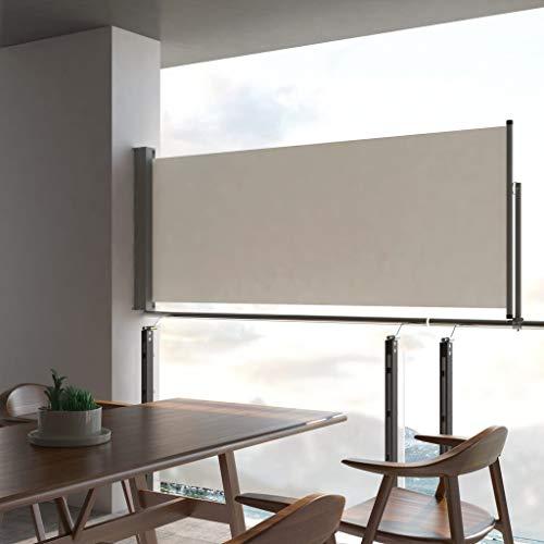 Festnight- Ausziehbare Seitenmarkise 100 x 300 cm Creme | Windschutz Sichtschutz Sonnenschutz | Seitenwandmarkise Seitenrollo für Balkon Terrasse Garten