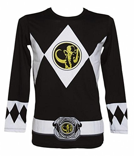 The Power Rangers Long Sleeve Ranger Costume Black T-shirt (Adult Medium)