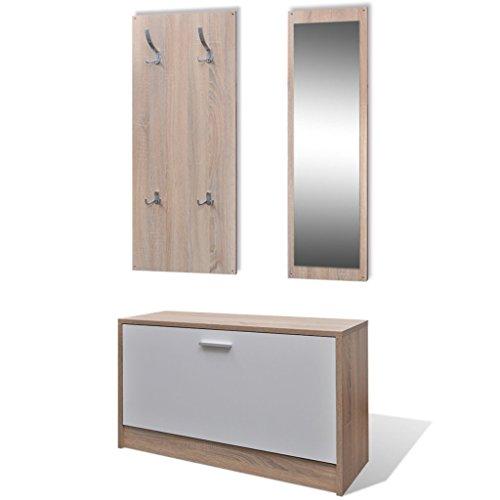Anself-in Holz Schuhschrank Set mit Schuhschrank + Spiegel + Garderobe Eiche und Weiß