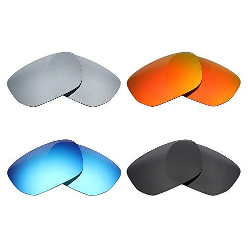MRY Ersatzgläser, polarisiert, für Sonnenbrillen von Oakley Scalpel, Stealth-Schwarz/Feuerrot/Eisblau/Silber-Titan, 4 Paar