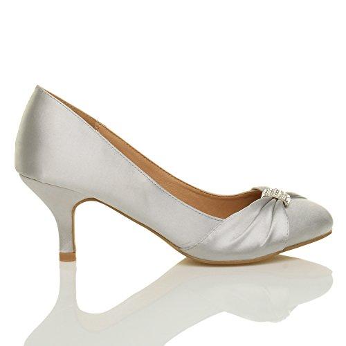 Damen Mittlere Absatz Strass Abschlussball Abend Hochzeit Schuhe Pumps Größe Silber Satin
