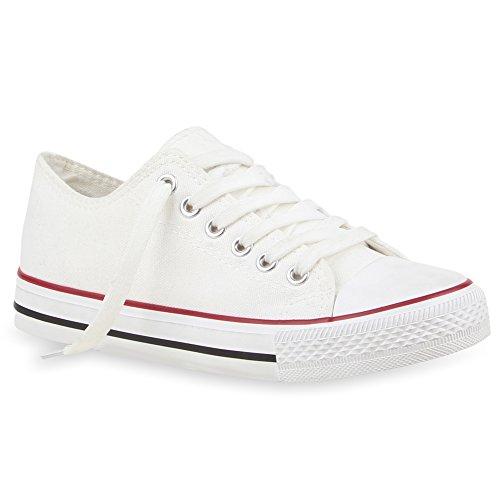 Damen Sneakers Spitze | Denim Sportschuhe Strass | Stoffschuhe Blumen Prints | Textil Schuhe | Sneaker Low Weiss Rot