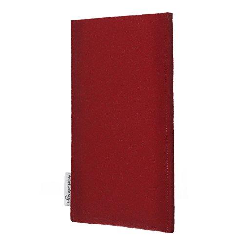 flat.design Handyhülle PORTO für Apple iPhone 8 - maßgefertigte Fülz Tasche aus 100% Wollfilz (rot) - handgefertigte Smartphone Tasche im Slim fit Design für Apple iPhone 8 rot