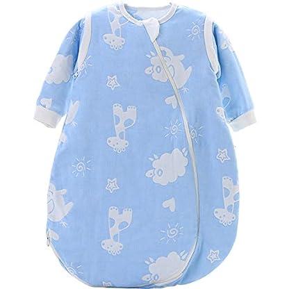 Dtcat Saco de Dormir con pies,Pijama de una Pieza para bebé,Saco de Dormir de Gasa para bebé @ Color_S,Unisex,Saco de Dormir para bebés-Cierre de Seguridad