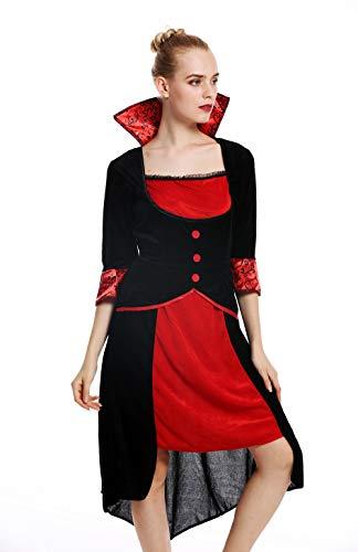 dressmeup W-0255 Kostüm Damen Frauen Halloween Karneval Böse Fee Vampirin Kleid schwarz rot - Rote Und Schwarze Fee Kostüm