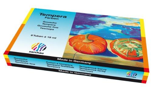 Nerchau 1048890 Temperafarbe / Schulmalfarbe (19 ml) 6 Farben