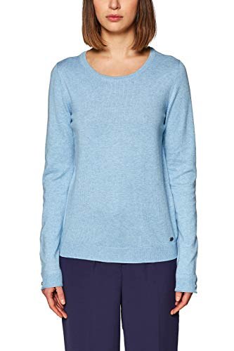 edc by ESPRIT Damen 128CC1I021 Pullover, per Pack Blau (Light Blue 5 444), Medium (Herstellergröße: M)