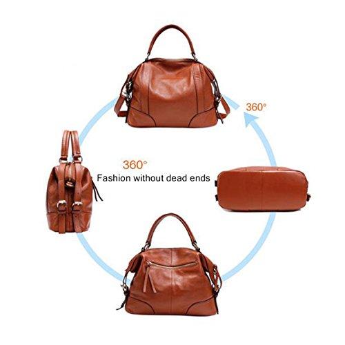 WU ZHI Damen-neues Leder Weiches Leder Großes Kapazitäts-Multifunktions-Handtaschen-Schulter-Beutel-Kurier-Beutel Brown