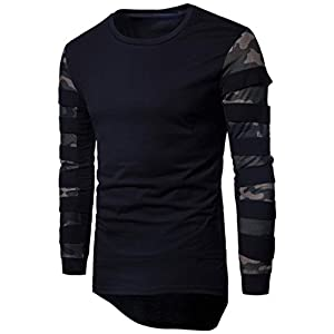 Men's Camouflage Net Sleeve Stitching Turtleneck Sweater, Men's Long Sleeve Multicolor Printed Pullover Sweatshirt Top Tee Outwear Blouse