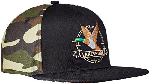 Lakeshore Jagd Cap, Premium Snapback Jagd-Kappe in Schwarz/Camouflage, Hochwertig Bestickt und Schirm-Unterseite Bedruckt, Herren & Damen