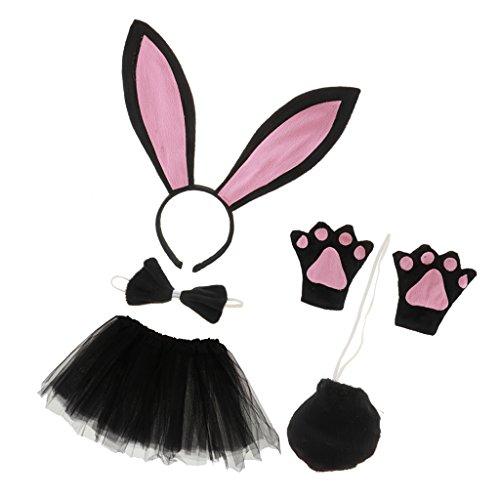 MagiDeal Kinder Hasen kostüm Set - Hasenohren Stirnband, Fliege, Handschuhe,Schwanz und Tutu Rock für Kinder Fasching Karneval Fasnacht Weihnachten Party Kostüm (Hase Kostüm Kinder)