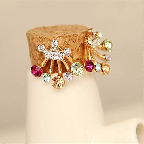 Gioielli di moda Wdzddy Orecchini di strass di cristallo rosso verde brillante Orecchini di colore oro corona Orecchini a corona per regalo squisito da donna