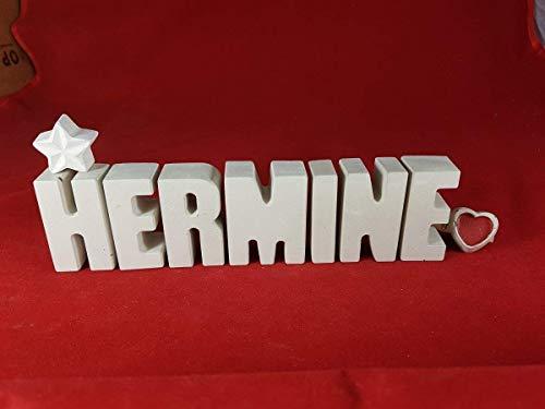 Geburt Kind Kostüm - Beton, Steinguss Buchstaben 3D Deko Namen HERMINE mit Stern und Herzklammer als Geschenk verpackt! Ein ausgefallenes Geschenk zur Geburt, Taufe, Geburtstag oder auch zu anderen Anlässen.