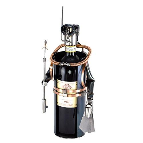 Steelman24 I Schraubenmännchen Taucher Weinflaschenhalter I Made in Germany I Handarbeit I Geschenkidee I Stahlfigur I Metallfigur I Metallmännchen