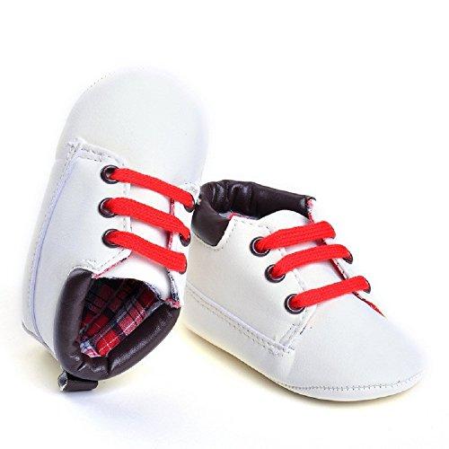 hibote Neugeborenes Baby Kind Jungen Mädchen weiche Sohle Leathe Sneaker Kleinkind Prewalker Schuhe Weiß